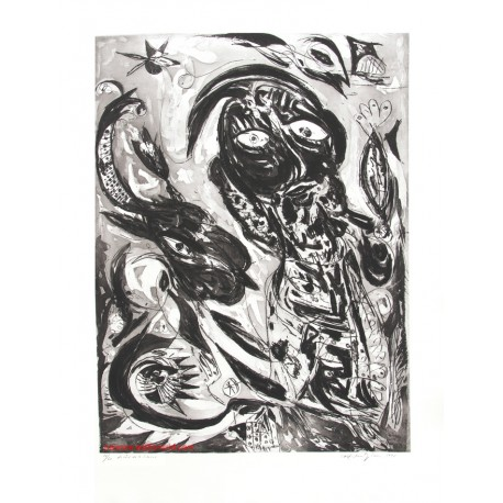 Le rêve de la licorne gravure originale de Carl-Henning Pedersen