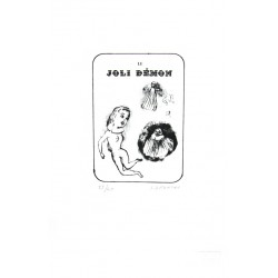 Joli démon lithographie originale de Sophie Dutertre