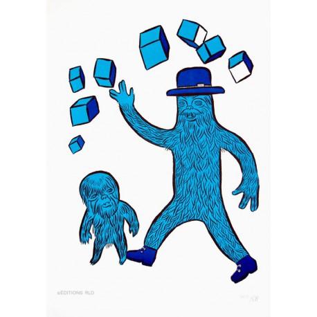 Where is the man ? Lithographie originale de Yaya Herman Dune