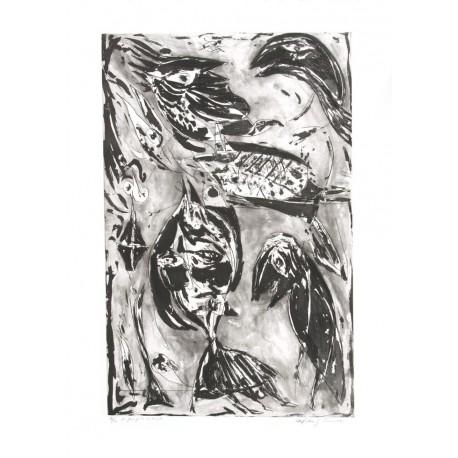 La jeune fille et la mer Noir gravure de Carl-Henning Pedersen