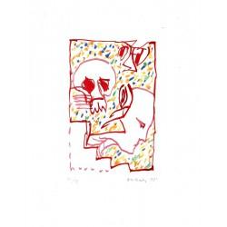 Deuxième masque - Gravure originale de Pierre Alechinsky