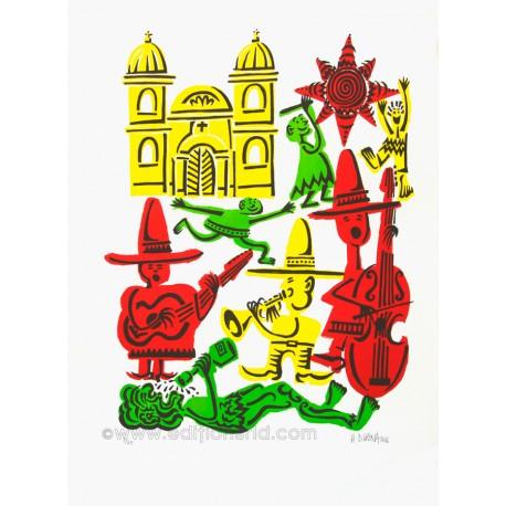 Jour de fête lithographie originale de Hervé Di Rosa