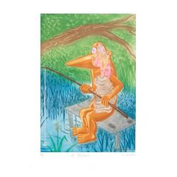 Le pêcheur gravure originale de Hervé Dirosa