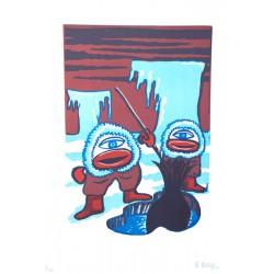 Les inuit - Lithographie de Hervé Dirosa