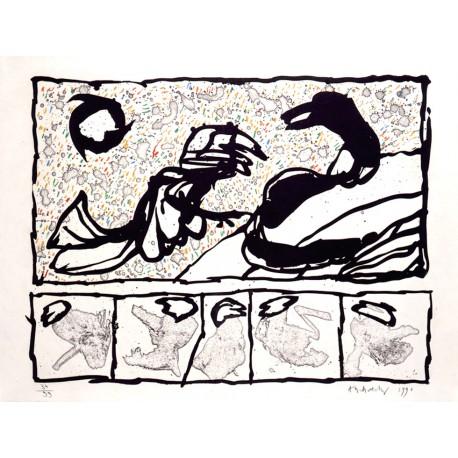 Lettre de créances gravure originale de Pierre Alechinsky