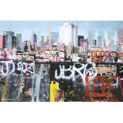 New York le rêve - Gravure et collage sur fond photographique de Gottfried Salzmann