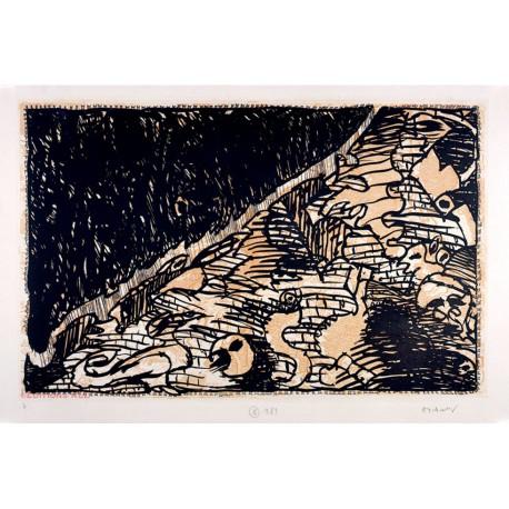 Le flanc nord - Sur l'écorce B - Gravure de Pierre Alechinsky
