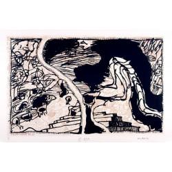 La ligne de front - Sur l'écorce C - Gravure de Pierre Alechinsky