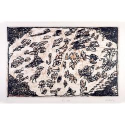 Le sauve-qui-peut de Rocquencourt - Sur l'écorce F - Gravure de Pierre Alechinsky