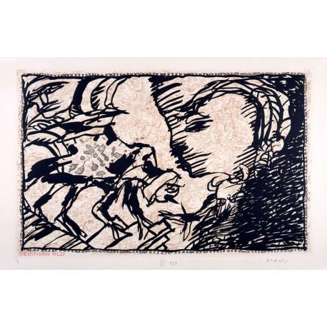 Le retour au foyer - sur l'écorce G - Gravure de Pierre Alechinsky