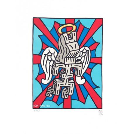 Ange - Lithographie originale de Speedy Graphito