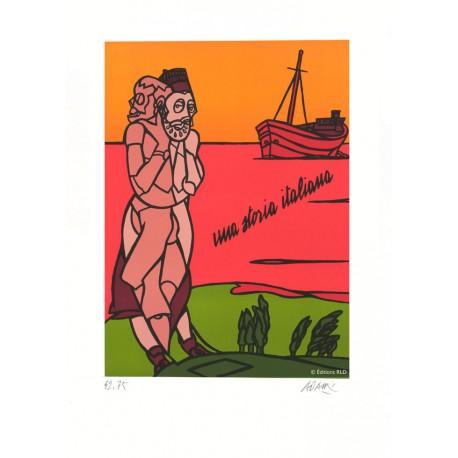 Una storia italiana lithographie originale de Valerio Adami