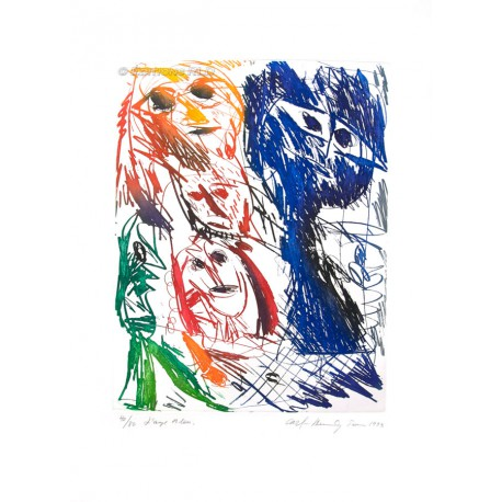 L'ange bleu gravure de Carl-Henning Pedersen