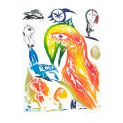 L'oiseau et l'étoile filante gravure de CH Pedersen