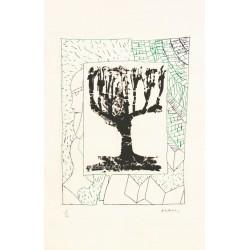Arbre central, au vert gravure de Pierre Alechinsky
