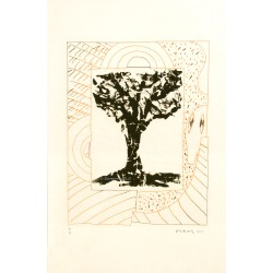Arbre central, à l'orange gravure de Pierre Alechinsky