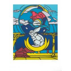 Le lapin, l'aigle et la lune lithographie de Valerio Adami