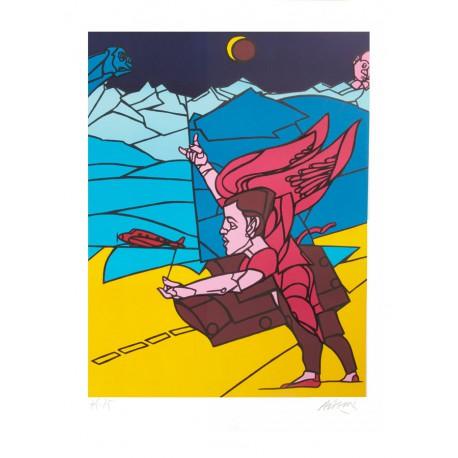 L'ange lithographie de Valerio Adami