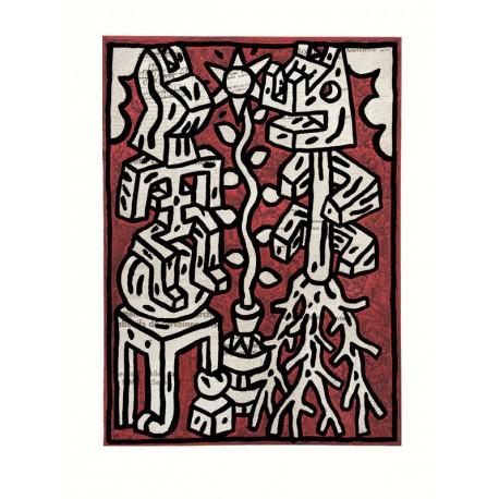 Conversation - Gravure originale gaufrée de Speedy Graphito