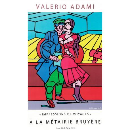 Le couple - Affiche en lithographie de Valerio Adami