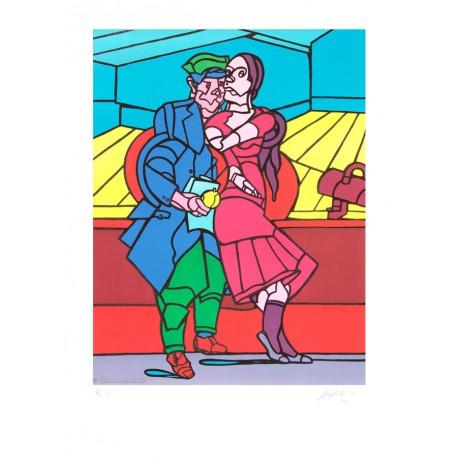 Le couple lithographie de Valerio Adami