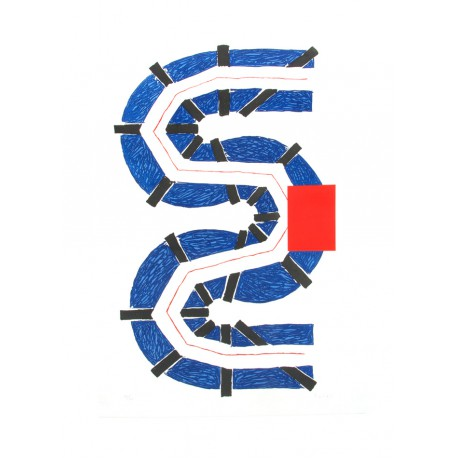 S bleu gravure originale de Kumi Sugaï